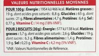 Galettes froment Chocolat noir - Nutrition facts - fr