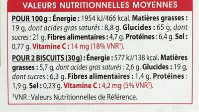 Galettes froment Chocolat noir - Nutrition facts