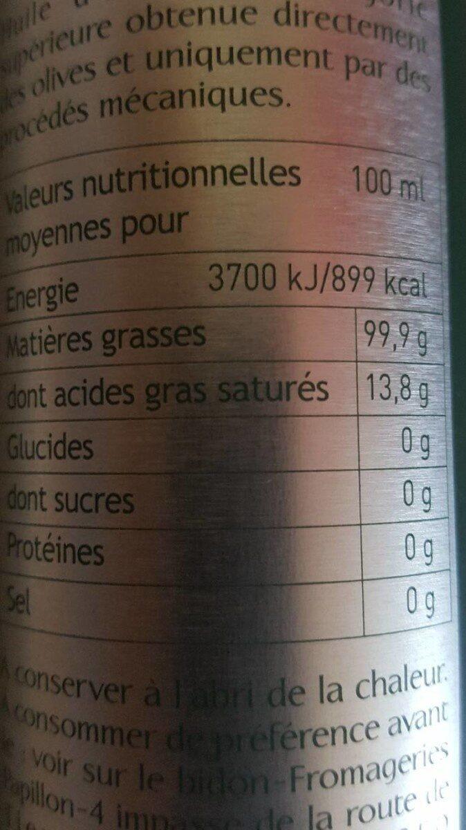 HUILE OLIVE FRANCE - Nutrition facts - fr