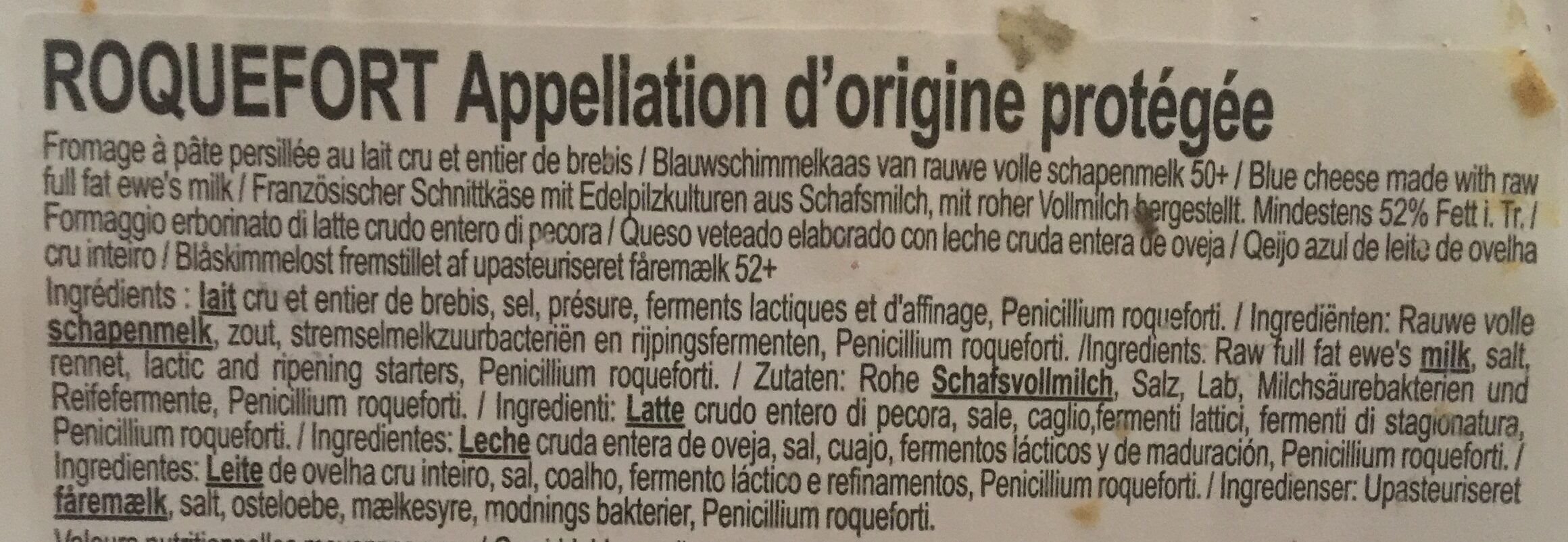 Roquefort Papillon Rouge - Ingrédients