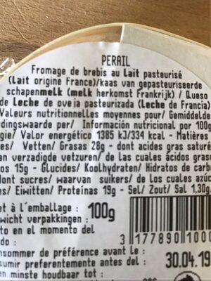 Fromage brebis - Ingrédients - fr