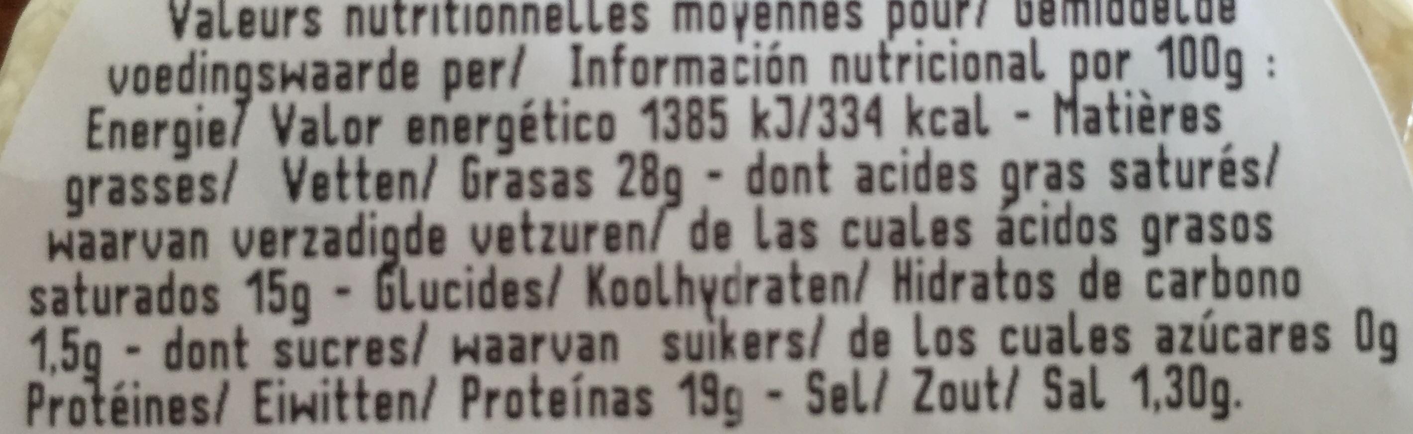 Pérail papillon - Informations nutritionnelles - fr