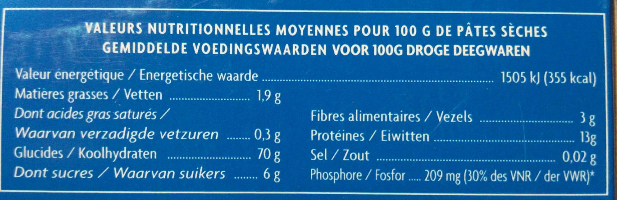 Coquillettes - Pâtes alimentaires - Informations nutritionnelles - fr