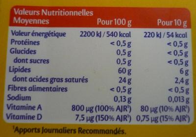 Planta Fin Doux Tartine & cuisson (60 % MG) - Voedingswaarden - fr