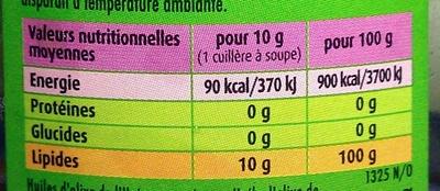 La verte Puissante Huile d'olive vierge extra - Informations nutritionnelles - fr