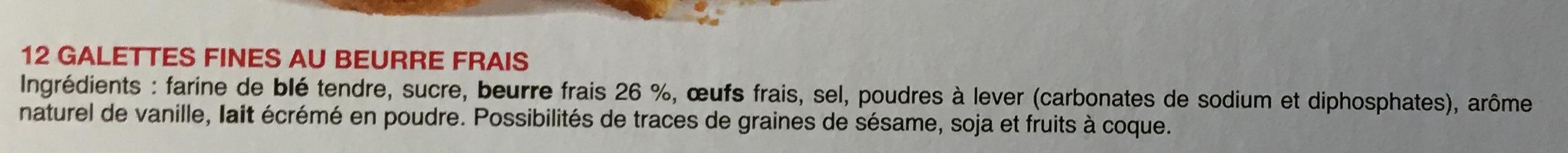 Galettes Butter Crunch Biscuits - Ingredienti - fr
