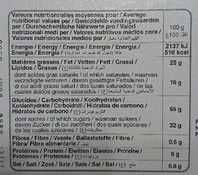 Galettes fines - Informazioni nutrizionali - de