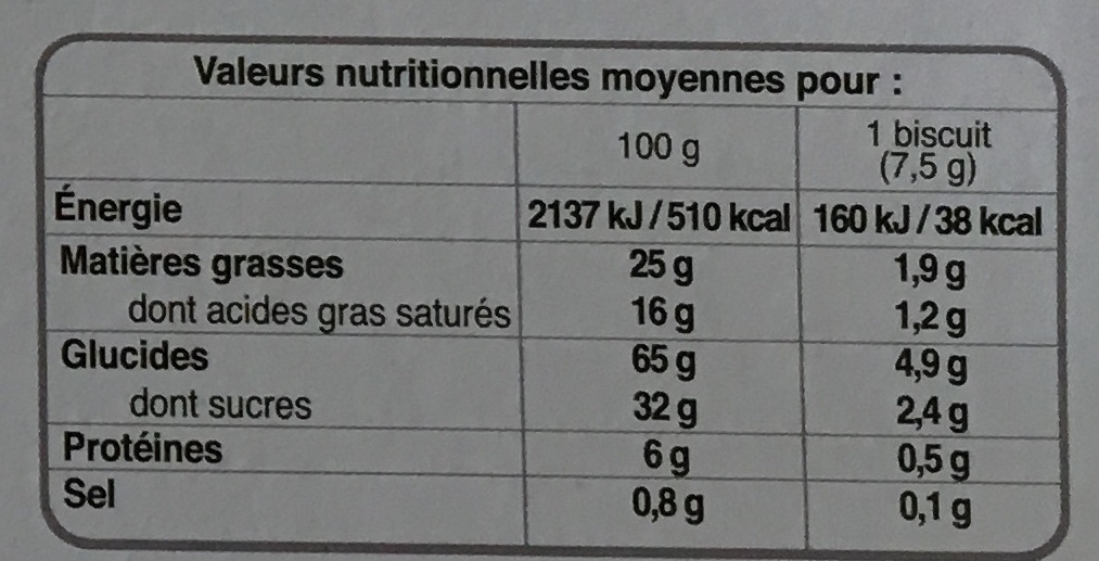 Galettes Butter Crunch Biscuits - Informazioni nutrizionali - fr