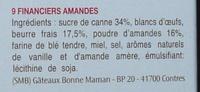 Bonne Maman Financiers amandes - Ingrediënten - fr