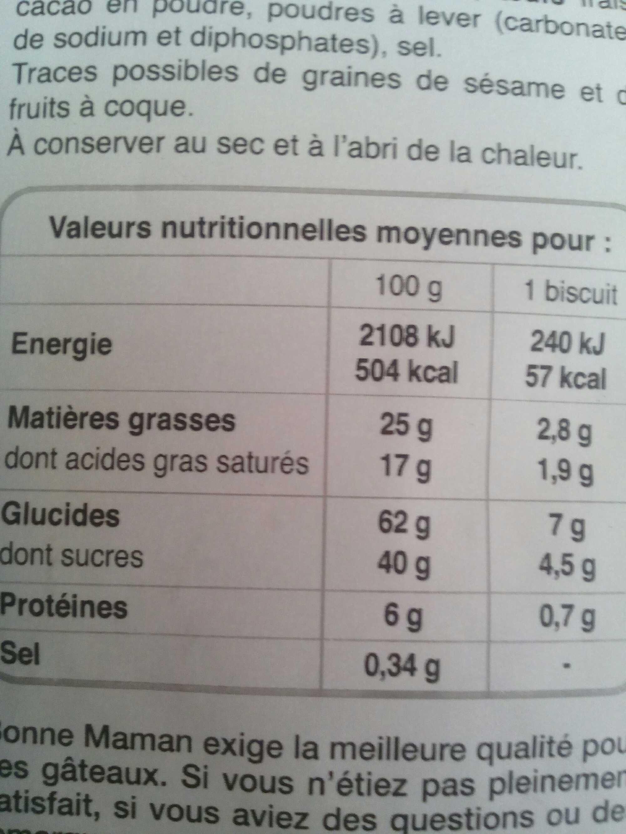 Sablés tout chocolat - Voedingswaarden