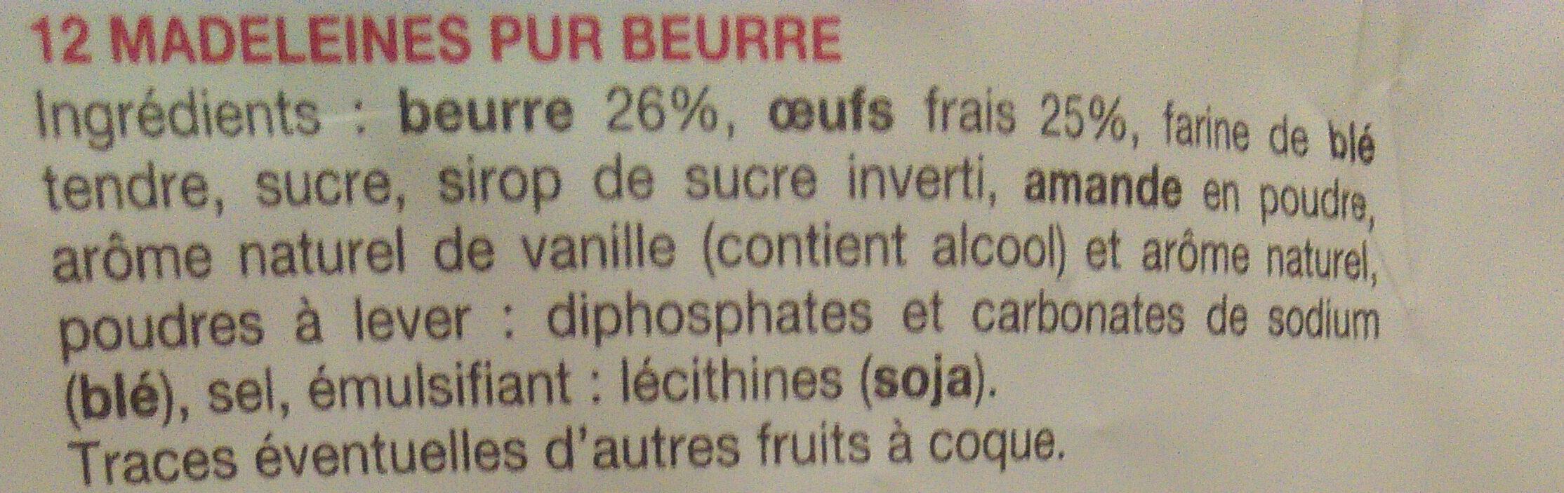 La Madeleine Pur beurre - Ingrédients - fr