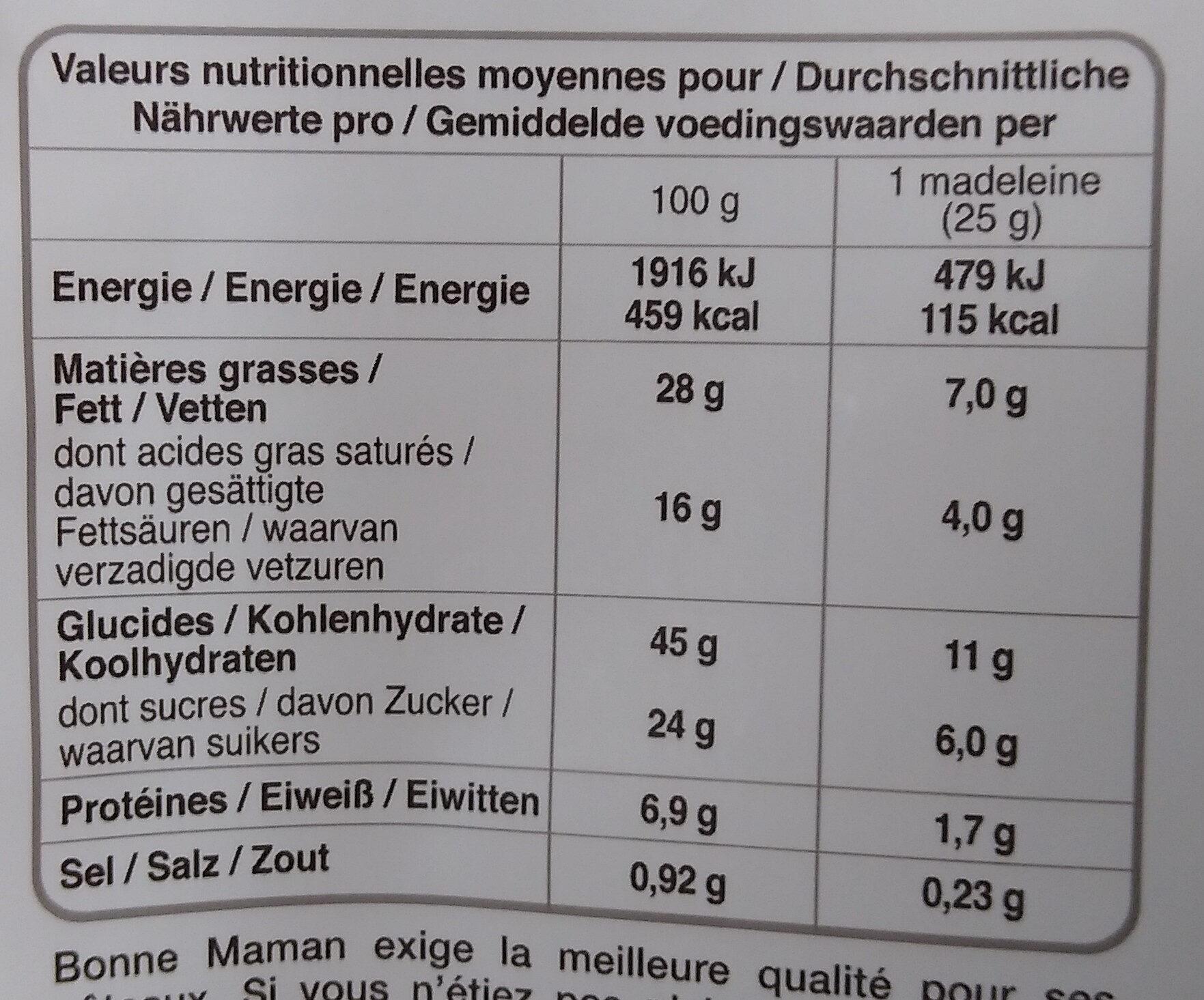 La Madeleine Pur beurre - Informations nutritionnelles - fr