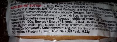 La Madeleine au beurre frais - Nutrition facts - fr