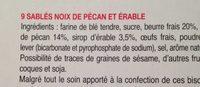 Sablés noix de pécan et érable - Ingrediënten