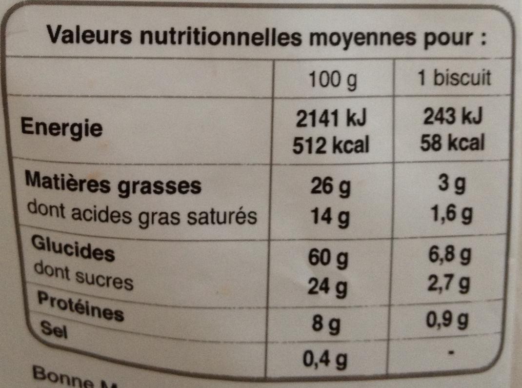 Sablés des prés, sésame, pavot, tournesol - Nutrition facts - fr