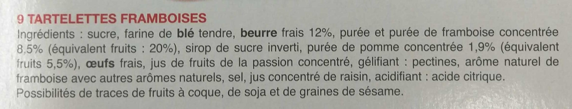 Tartelettes framboise - Ingredienti - fr