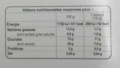 Tartelettes framboise - Valori nutrizionali - fr