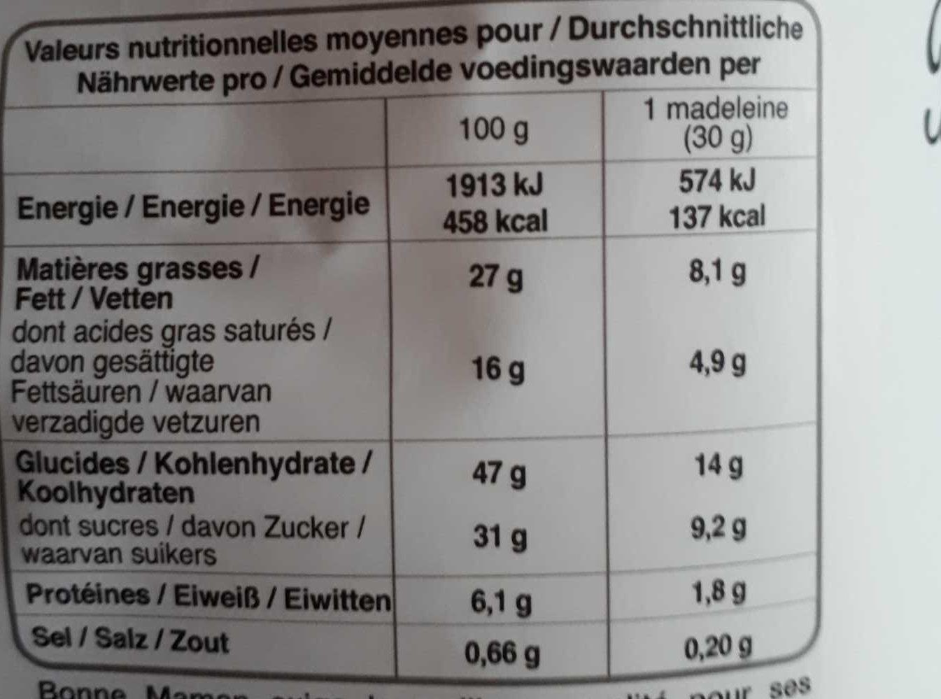 La madeleine chocolat au lait. - Voedingswaarden - fr