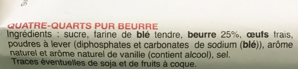 Quatre-quarts au beurre frais - Ingrediënten