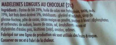Madeleines Longues au Chocolat - Ingrédients - fr