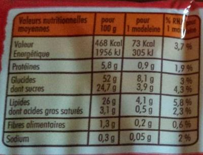 Madeleines Longues au Chocolat - Informations nutritionnelles - fr