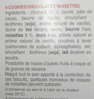 Cookies Noisettes aux gros éclats de chocolat - Ingrédients