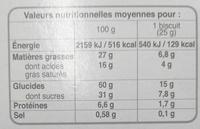 Cookies Noisettes aux gros éclats de chocolat - Informations nutritionnelles