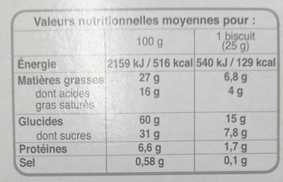 Bonne maman cookies - Nutrition facts - fr