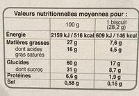 COOKIES CHOCOLAT NOISETTES - Voedingswaarden - fr