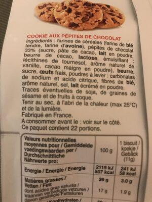 Cookies pepites chocolat - Ingrédients - fr