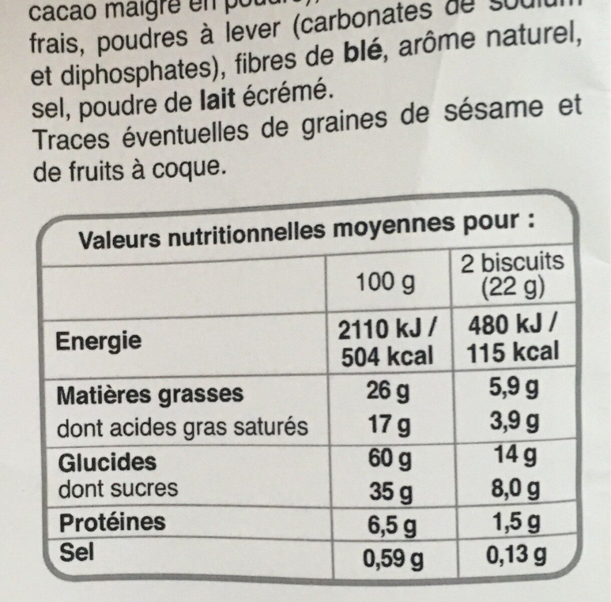 Cookies pepites chocolat - Nutrition facts - fr