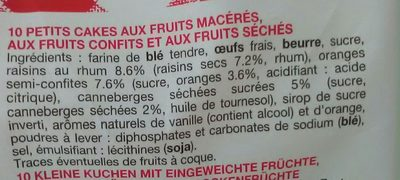 petit cake aux fruits - Ingrédients