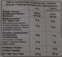 petit cake aux fruits - Informations nutritionnelles