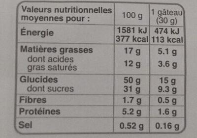 PETIT CAKE FRUITS BM - Voedingswaarden - fr