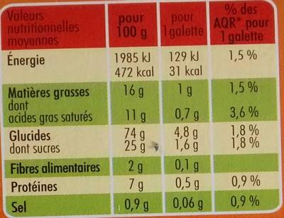 36 Galettes à emporter - Información nutricional