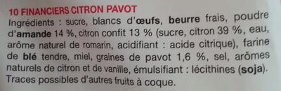 Financiers citron pavot - Ingrediënten