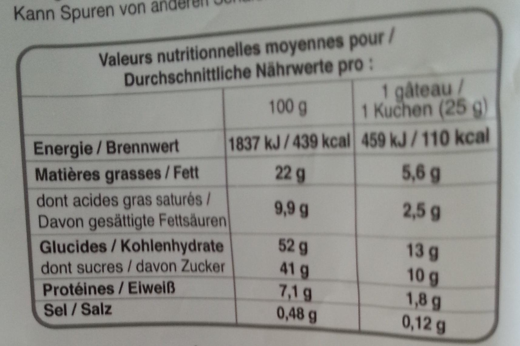 Financiers citron pavot - Voedingswaarden - fr