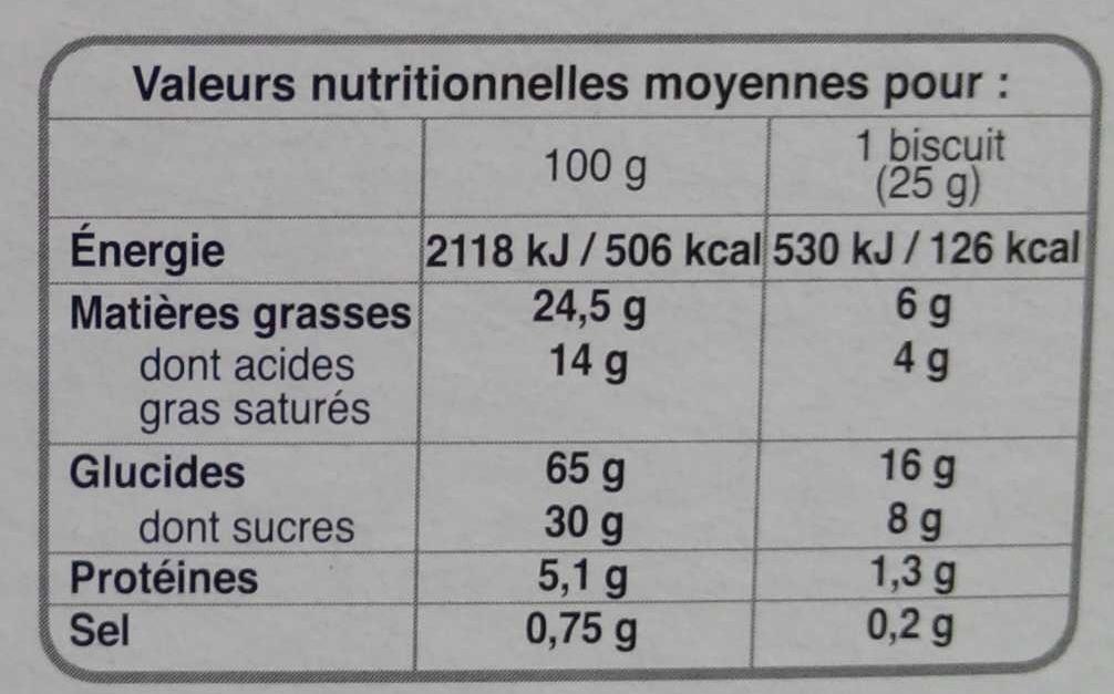 Cookies Caramel au beurre salé aux gros éclats de chocolat - Valori nutrizionali - fr