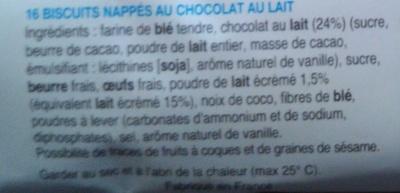 Monsieur Biscuit chocolat au lait - Ingrédients