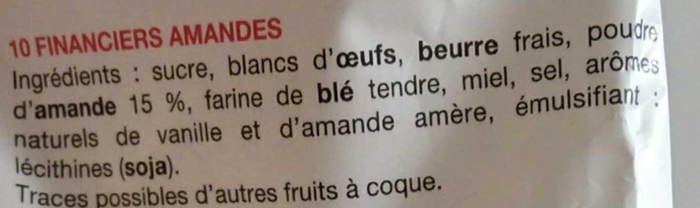 Financiers Amandes - Ingrédients - fr