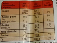 Madeleines Pépites Chocolat - Informations nutritionnelles
