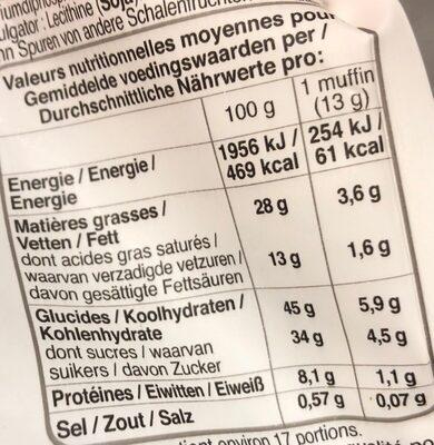 Petits muffins chocolat 235g Bonne Maman - Valori nutrizionali - fr