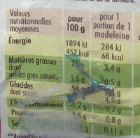Madeleines pépites chocolat - Nutrition facts