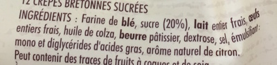 12 Crêpes Bretonnes sucrées - Ingrédients