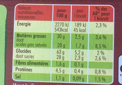 PALMIER CARAMEL - Información nutricional - fr