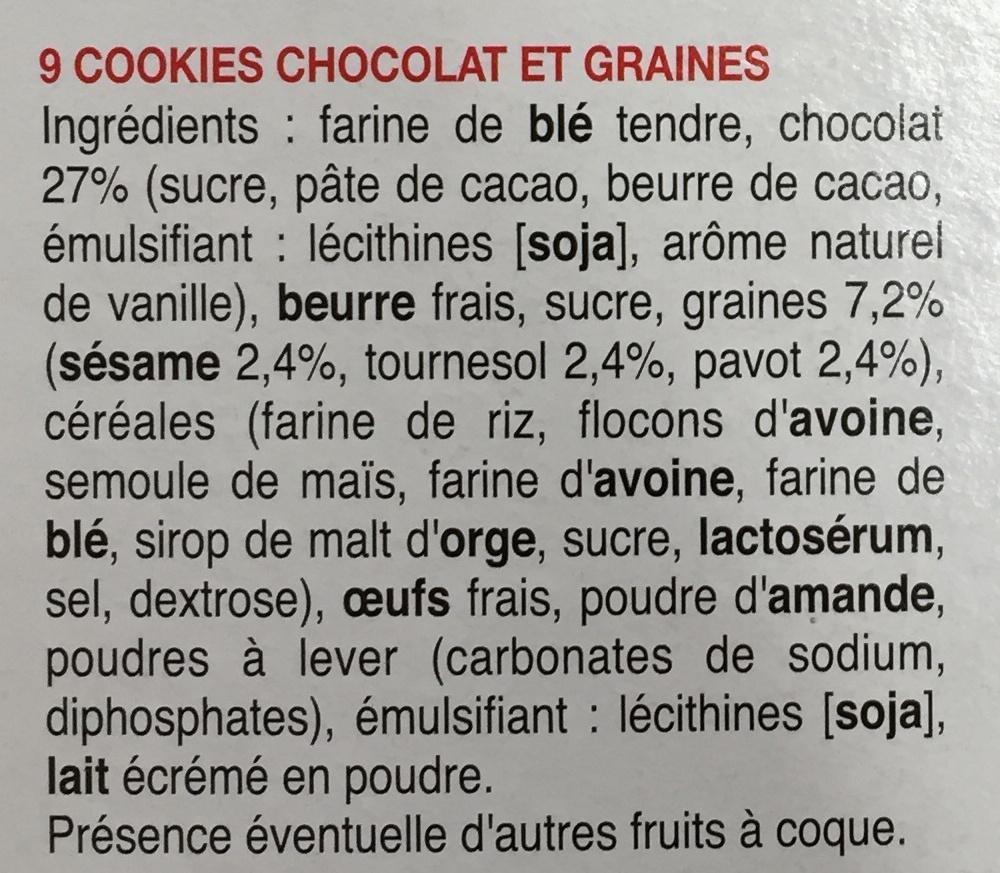 Cookies des prés Sésame Tournesol Pavot aux gros éclats de chocolat - Ingredients