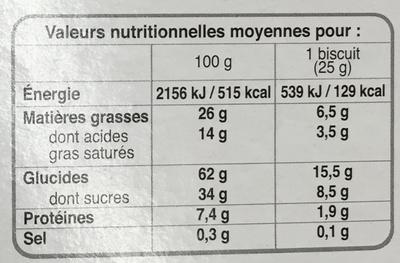 Cookies des prés Sésame Tournesol Pavot aux gros éclats de chocolat - Nutrition facts
