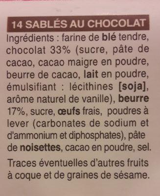 Sablés tout chocolat - Ingrediënten