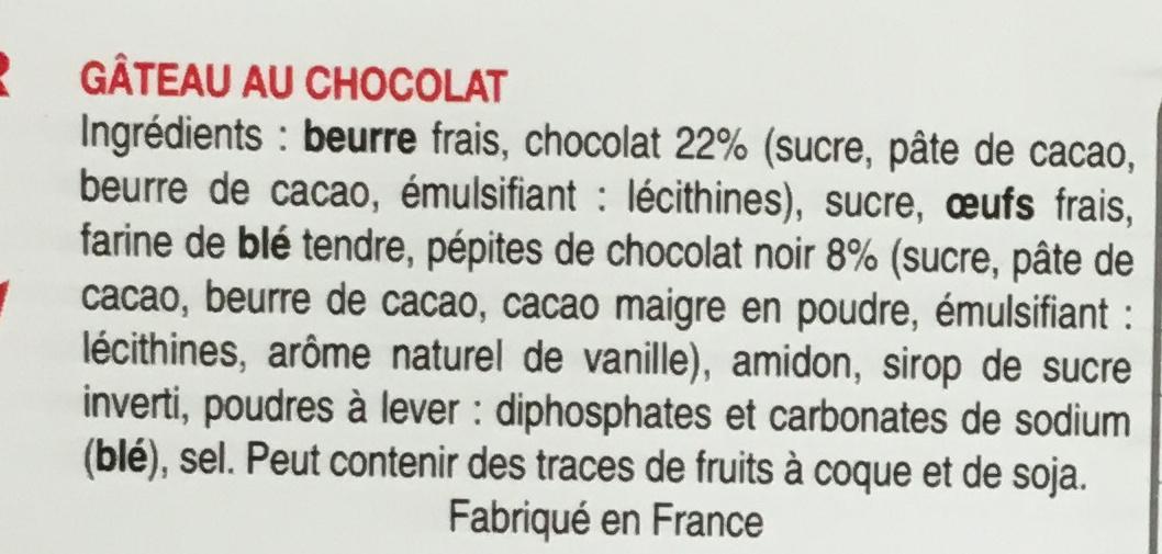 Le gâteau au chocolat - Ingrediënten