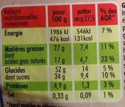 Savaroises Chocolat - Voedingswaarden - fr